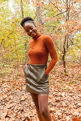 Iféoluwa Anani - H&M Leather Skirt, H&M Polka Dots Top - Even the leaves fall for you ✨