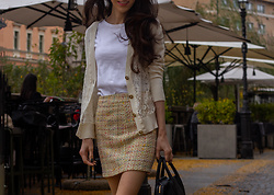 Veronika Lipar - H&M White T Shirt, Off White Lace Cardigan, Yellow Mini Tweed Skirt, Black Top Handle Bag - Cozy and Classy Sunday Brunch Outfit