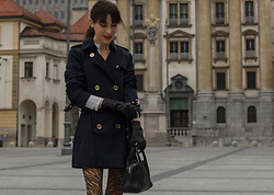 Veronika Lipar - Ganni Tiger Print Socks, Navy Trench Coat, Burberry Black Leather Gloves - The Most Stylish Clubbing Outfit