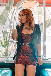 Ramsey Wild - Superdown Red Leopard Dress, Shein Spiked Necklace, Shein Black Belt, Express Black Buttonless Blazer - You want fries with that shake?