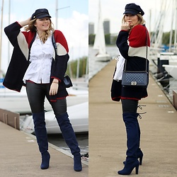 Ania K. [www.overdivity.com] - Bag, Bag, Bag, Hat, Hat, Cardigan, Pants, Pants, Bracelet, Bracelet, Bracelet, Hat, Cardigan, Pants - Maritime look with Chanel Boy Bag