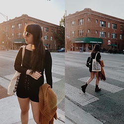 Camila C - Shein Off Shoulder Long Sleeve, Urban Outfitters High Waist Shorts, Urban Outfitters Thick Knit Cardigan, Dr. Martens Jadon Boots - Shades of Cool