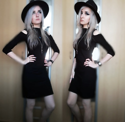 Grim Alex - Aliexpress Wide Brimmed Black Fedora, Aliexpress Pentagram Earrings, Gifted Blue/Purple Shifting Necklace, Aliexpress Amethyst Necklace, Mosty Aliexpress Rings, New Yorker Black Faux Leather Bracelet, Sinsay Black Bodycon Dress - Witching Hour