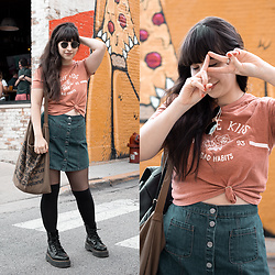 Camila C - Urban Outfitters Rouge Kids Crop Top, Bdg Denim Skirt, Dr. Martens Jadon Boots, Ray Ban Sunglasses - Pizza Bear