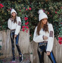 Jenny Mehlmann - Forever 21 Sherpa Cropped Sweater, H&M Vinyl Pants, Fila Sneakers - @thehungarianbrunette // POM POM GIRL