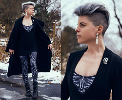 Carolyn W - Black Milk Clothing Mechanical & Bones, Wet Seal Deep V, Sam Edelman Studded, Femme Luxe Cape - Bones in the Snow
