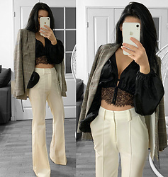 LOOK DU JOUR BY ANA - Nasty Gal Lace Meet Up Cropped Satin Top, H&M Jacket With A Belt, H&M Double Breasted Jacket, Mango Palazzo Trousers, Asos Petite Wide Leg Wedding Trouser White, I Saw It First Cream O Ring Belted Wide Leg Trousers, Instagram @Look.Du.Jour.By.Ana, Shop My Outfits Here, Shop My Style Here, Shop My Outfit Essentials Here, Shop My Vinted Wardrobe Here - GOING OUT FROM OFFICE