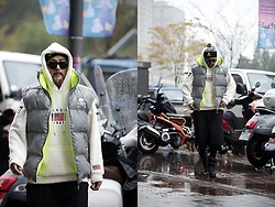INWON LEE - Byther Los Angeles Embroidered Fuzzy Fleece Hoodie, Byther Scotch Glow Reflective Reversible Padded Vest - Raining Winter with Padded Vest