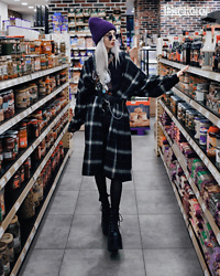 Kimi Peri - Vii & Co. Belted Plaid Longline Shirt, Vii & Co. Crossbody Harness Belt, Demonia Camel 203 Platform Boots, Killstar Frilly Socks, Shirtpunch Sabrina Shirt, Vii & Co. Denim Shorts, Purple Beanie, Triangle Glasses - Grocery Store Adventures