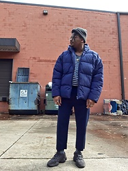 Jason - Asos Puffer Jacket, Forever 21 Cropped Pants, Adidas Yeezy 500 Utility - Brick weather has me BLUE