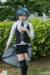 Nicole Benavides - Nicole Benavides Black Flowers Head Accessory, Blue/Turquoise Short Wig, Custom Lace Shirt, Nicole Benavides Black And White Striped Open Skirt With Lace, Black Stockings, Black Shorts, Custom Black Vest - Cosplay| Ciel Phantomhive , Kuroshitsuji (artbook)