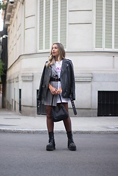 Claudia Villanueva - Zara Jacket, Yes Style Dress, Shein Bag, Un Paso Mas Boots - The T-Shirt Blazer Fusion