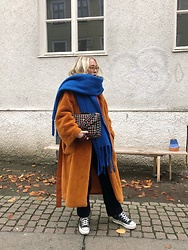 Nathalie R - Weekday Jacket, Zara Scarf, Beck & Söndergaard Bag, Converse Shoes - Combination
