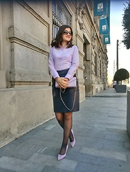 Ivana - Filo Di Seta Lilac Shirt, Orsay Navy Leather Skirt, Nine West Suede Lilac Shoes, Accessorize Lilac Purse, Giorgio Armani Sunglasses - Bespoke Shirt
