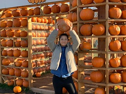 Jenny Hou - Oak And Fort Denim Shirt, Uniqlo Jacket - Pumpkins!