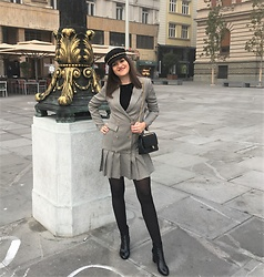 Ivana - Shein Houndstooth Blazer Dress, Chanel Bag 2.55, Stepland Patent Leather Ankle Boots, Lc Waikiki Bakerboy Cap - Blazer Dress