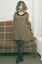 Lovely Blasphemy - Dazzlin Long Sleeve Polka Dot Dress, Alice And The Pirates Black Boots, Dreamholic Milly - Dots and stripes