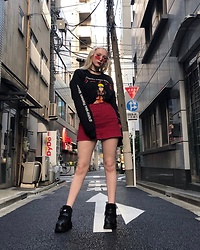 Oriane Barrier - Urban Outfitters Naruto Long Sleeve Tee, Buffalo Classics, Forever 21 Mini Skirt - Tokyo FIT