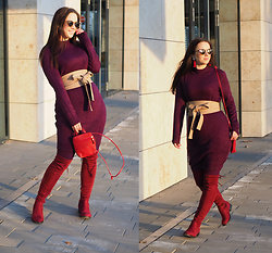 Drew - Bonprix Dress, Elegance For Me Belt, Topankovo Boots - Still enjoying burgundy