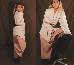 RuiJun L - Gold Earrings, Vintage White Blouse, Aliexpress Pleated Pants, Asos Shoes, Industrial Belt - B E I G E