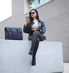Gilda - Cuir Cucu Black Leather Bag, Love Maschine Black Sunglasses, Asos Black Boots, Vintage Leather Jacket, Fashion Nova Black Leather Skirt - Classy Leather Combo