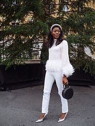 PAMELA - Asos Feathered Top, Zara Rhinestone Headband, H&M Straight Jeans - Winter White with Feathers