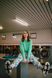 Andreea Birsan - Clear Lens Glasses, Mint Sweater, Floral Harem Pants, Triple S Chunky Sneakers - Comfy pants