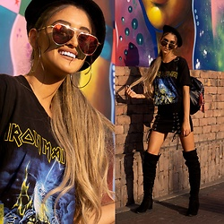 Andrea Chavez - Iron Maiden Tee, Gamiss Over The Knee Boots, Sojos Vision Red Sunnies, Now Black Backpack - Iron Maiden Tee