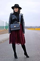 Moda_i_takie_tam - New Look Lace Burgundy Skirt, Stradivarius Over Knee High Heels, Atmosphere Leather Biker Jacket - Somewhere over the rainbow