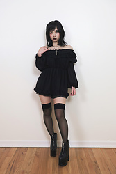 Lovely Blasphemy - Open The Cellar Door Necklace, Yru Nightmare Boots - Black