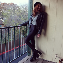 "Michelle Blue - Leather Biker Jacket, American Apparel Disco Pants, Platform Boots - ""Babe, You Look So Cool"""