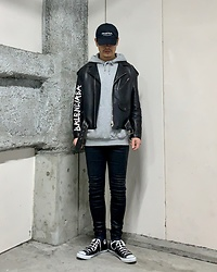 ★masaki★ - Kollaps Industrial, Balenciaga Leather Jacket, H&M Hoodie, Kill City Jeans, Converse Allstar - Japanese Cap インダストリアル