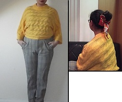 Selina M - Oliver Bonas Yellow Jumper, Urban Outfitters Checked Trousers, H&M Floral Hair Scarf - I can see every stranger in Paris is waiting to collide
