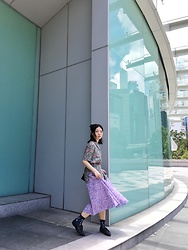 Flosmoony - Vintage Shirt, Vintage Skirt - In Flowers