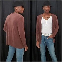 Thomas G - Made In Heaven Cardigan, Old Navy 3 Button V Neck 3/4 Sleeve Top, Faded Glory Fedora, Express Stretch Fit & Flare - Fedora + Cardigan + Jeans