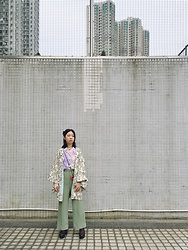 Flosmoony - Haori, Vintage Shirt, Vintage Trousers - In Graph