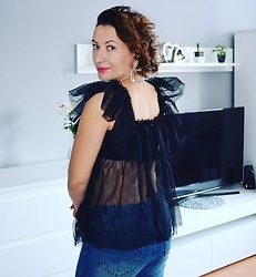 Adriana Style - Femme Luxe Frill Blouse, Zara Earrings - Casual Party Wear