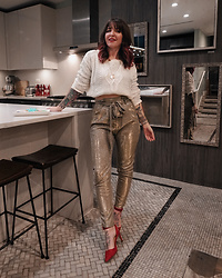 Jessie Barber - Shoedazzle High Waisted Glitter Trouser, Kohl'S White Sweater, Red Heel, Ettika Squared Off Gold Hoops - Cookie Decorating