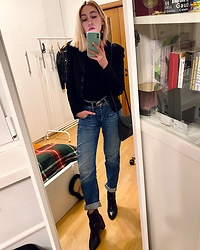Mr_Nice_Guy__ Anastasiia Cherepnina - New Look Envelope Bag, Pepe Jeans Mom, Ekonika Boots, H&M Belt, Bebe Blazer - Smart casual, winter edition