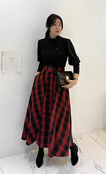 Miamiyu K - Miamasvin Gigot Sleeve Slim T Shirt And Belted Check Skirt Set - Artful Balance