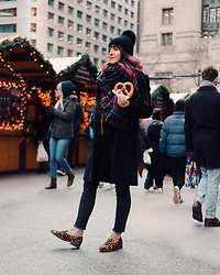 Jessie Barber - Pom Beanie, Dsw Blanket Scarf, Zara Coat, Madewell High Rise Button Through Skinny Jeans, Madewell The Frances Loafer - Christkindl Market