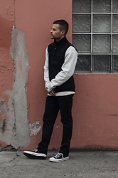 Kevin Elezaj - Converse Sneakers, Wood Pants, Gap Sweater, Wood Vest - At ease