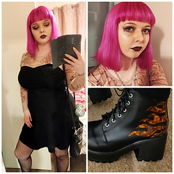 April Willis - Jawbreaker Serpent Tattoo Skater Dress, Wish Barbed Wire Necklace, Manic Panic Hot Hot Pink Hair Dye, Primark Black Fishnet Tights, Primark Black Over The Shoulder Bag, Koi Footwear Logi Flame Platform Boots - Burn this town