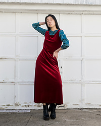 Gi Shieh - Thrifted Teal Blouse, Borrowed From Aunt Red Velvet Dress, Aldo Black Platform Boots - Holiday RE(A)D(Y)?