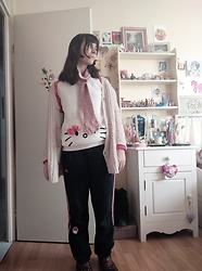 Lulu Longstocking - Vintage Cardigan, Handmade Scarf, Thrifted Hello Kitty Sweater, Adidas Pants - Pink kitty hues