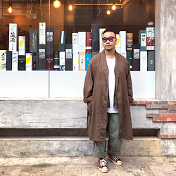 Mannix Lo - Vintage Stripes Long Outer, Uniqlo Cardigan, Cotton On Tee, Madness Patchwork Military Cargo Pants, Converse Patchwork Chuck Taylor Sneakers - A change may be just around the corner