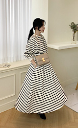 Miamiyu K - Miamasvin Tapered Waist Striped Long Dress - Wintry and Cozy