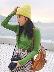 3xternal.dust - Marks & Spencer Beanie, Bought In Taipei Turtle Neck Top, Burberry Pencil Skirt, Simona(Made In Madrid) Backpack, Asos Hoop Earrings - Christmas tree🎄