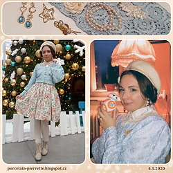 Pierrette - Aliexpress Hair Pin, Aliexpress Earrings, Handmade By Me Dress, Ccc Shoes, Innocent World Offwhite X Pink Blouse, Reserved Blue Cardigan, Charlotte Handmade Crocheted Bb 8, H&M Rose Hair Pin - Romantic powder rose
