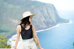 Jade Zhu - Zara Skirt, Reformation Purse, Reformation Hat - Big Island